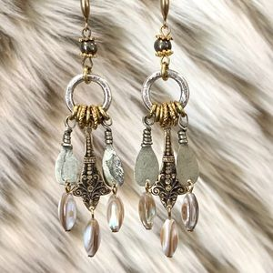 Handmade mother of pearl pyrite mix metal earring
